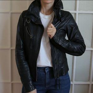 Black All Saints leather Belvedere jacket